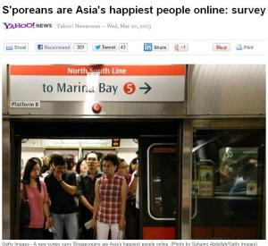 Screenshot of Yahoo's headline. Note how they used a pix of unhappy looking commuters to contrast with the headline. Naughty, naughty.